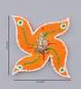 999Store Multicolour Wooden Handmade Ganesh Orange Swastik Spiritual Wall Hanging