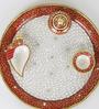 Aapno Rajasthan Red & White Marble Pooja Thali