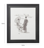 Asian Artisans Paper 15.5 x 12.5 Inch Myanmar Pencil Sketch of 2 Monks Watching The Boat Framed Painting