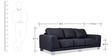 Atlanta Three Seater Sofa in Jet Black Colour by Durian