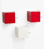 Bluewud White & Red MDF & Duco Colorcube Wall Shelf - Set of 3