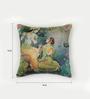 Bombay Mill Multicolour Matt Satin 16 x 16 Inch Radha Krishna Print & Embroidery Cushion Cover