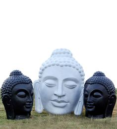 Zoe Crafts Outdoor Buddha Face In Black & White (Set Of 3)
