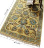 Carpet Overseas Yellow & Blue Wool 72 x 46 Inch Flower Design Hand Knotted Area Rug