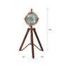 Cocovey Brown Wooden 4 x 4 x 12 Inch Tripod Antique Table Clock