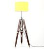 Craftter Handloom Matka Silk Yellow Fabric Tripod Floor Lamp