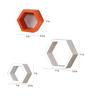 AYMH Orange & White MDF Hexagon Wall Shelf - Set of 6
