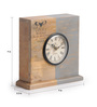 Fabuliv Grey Mango Wood 9 x 3.3 x 9 Inch Vintage Table Clock
