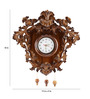 Furncoms Brown Wooden 19 x 5 x 18 Inch Wall Clock with Leaf