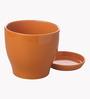 Gaia Orange Glazed Ceramic 8 x 8.5 Inch Table Top Planter with Plate