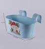 Green Girgit Mushroom Blue Metal Tub Planter