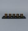 Importwala Jewel Tone Glass Votive Set with Tray - Set of 5