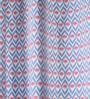 Lushomes Blue Cotton 108 x 54 Inch Diamond Printed Long Door Curtain with 8 Eyelets & Plain Tiebacks - Set of 2
