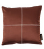 Lushomes Dark Brown Blackout Polyester 16 x 16 Inch Cushion Cover with Artistic Stitch - Set of 2