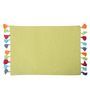 Lushomes Multicolour Cotton Reversible Placemats with Pom Pom - Set of 6