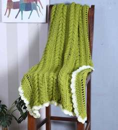 Magic Needles Exclusive Cable Bordered Blanket In Olive Green Colour