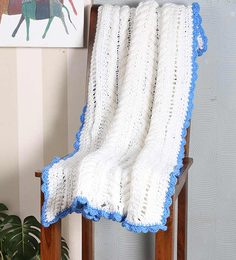 Magic Needles Exclusive Cable Bordered Blanket In White Colour