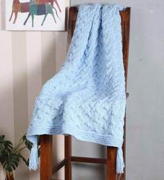 Magic Needles Exclusive Cable Tassled Blanket In Baby Blue Colour
