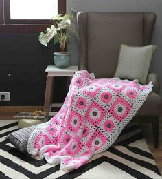 Magic Needles Exclusive Granny Square Blanket In Pink Colour