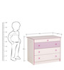 McLola Four Drawers Chest in White & Purple Finish by Mollycoddle