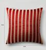 Mapa Home Care Maroon & Cream Duppioni 16 x 16 Inch Sequined Work Striped Cushion Cover