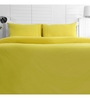 Maspar Yellow Cotton Solid 88 x 60 Inch Bed Sheet (with Pillow Cover)