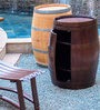 Mombo Wine Barrel Shaped Table in Natural Finish by Inliving