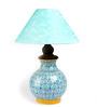Neerja Blue Pottery Blue, White, & Yellow Ceramic Matka Lamp Base