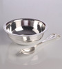 Ojas Solid Rectangle Silver Plated Set of 4 Dessert Bowls With Tray & Spoons