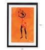 Pickypomp Paper 8 x 12 Inch Tribal with Artistic Jug in Saffron Framed Wall  Poster