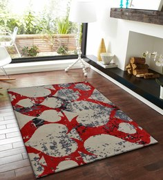 Presto Red And Ivory Polyester Abstract Patterns Carpet