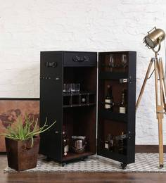 Single Door Leather Trunk Bar Cabinet In Black Color By Studio Ochre