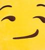 Stybuzz Yellow Velvet 14 x 14 Inch Smirk Emoji Cushion Cover with Insert