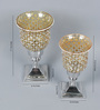 The Yellow Door Gold & Silver Iron & Glass Mosaic Candle Holders - Set of 2