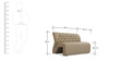 Two Seater Sofa with Tufted Back in Muslin Beige Colour by Durian