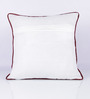 Vista Home Fashion Red Cotton 18 x 18 Inch Embroidered Cushion Cover