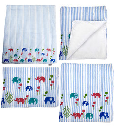 Cocobee White Elephant And Blue Stripes Print Baby Quilt In White Colour