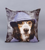 Zila Home Blue Cotton 16 x 16 Inch Doggie with  A Hat Cushion Cover